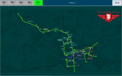 Schéma trakční sítě (Pardubice)
